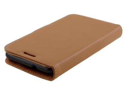 Sony Xperia E4g Slim Synthetic Leather Wallet Case with Stand - Brown