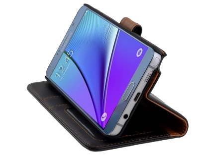 Samsung Galaxy Note 5 Synthetic Leather Wallet Case with Stand - Classic Black