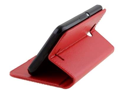 Slim Synthetic Leather Wallet Case with Stand for Sony Xperia E4g - Red