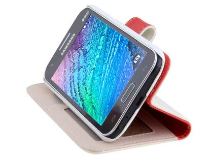 Samsung Galaxy J1 (2015) Synthetic Leather Wallet Case with Stand - Pearl White