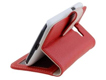 Samsung Galaxy J1 Synthetic Leather Wallet Case with Stand - Red