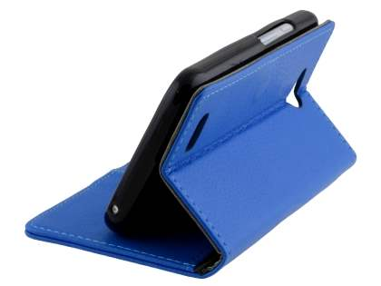 Slim Synthetic Leather Wallet Case with Stand for ZTE Telstra 4GX Buzz - Blue