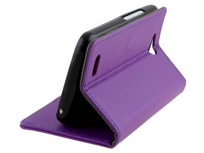 Slim Synthetic Leather Wallet Case with Stand for ZTE Telstra 4GX Buzz - Purple