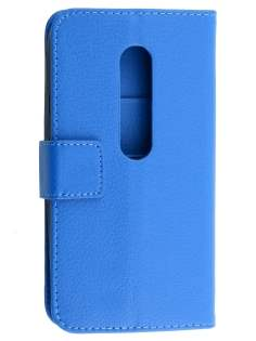 Motorola Moto G 3rd Gen Slim Synthetic Leather Wallet Case with Stand - Blue Leather Wallet Case