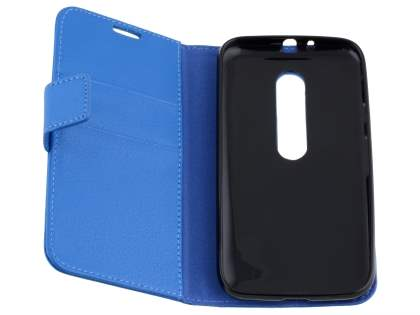 Motorola Moto G 3rd Gen Slim Synthetic Leather Wallet Case with Stand - Blue