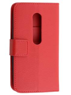 Motorola Moto G 3rd Gen Slim Synthetic Leather Wallet Case with Stand - Red Leather Wallet Case
