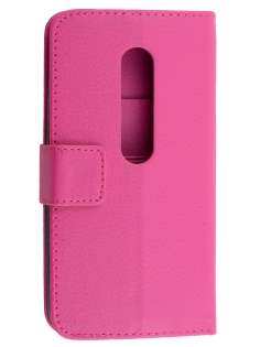 Slim Synthetic Leather Wallet Case with Stand for Motorola Moto G 3rd Gen - Pink Leather Wallet Case