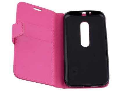 Slim Synthetic Leather Wallet Case with Stand for Motorola Moto G 3rd Gen - Pink