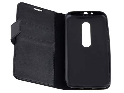 Motorola Moto G 3rd Gen Slim Synthetic Leather Wallet Case with Stand - Classic Black