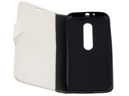 Motorola Moto G 3rd Gen Slim Synthetic Leather Wallet Case with Stand - Pearl White