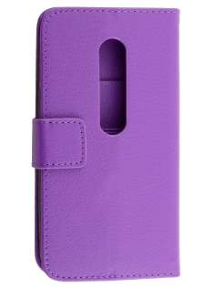 Motorola Moto G 3rd Gen Slim Synthetic Leather Wallet Case with Stand - Purple Leather Wallet Case