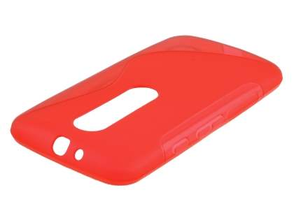 Motorola Moto G 3rd Gen Wave Case - Frosted Red/Red Soft Cover