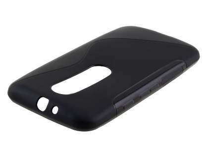 Motorola Moto G 3rd Gen Wave Case - Frosted Black/Black Soft Cover