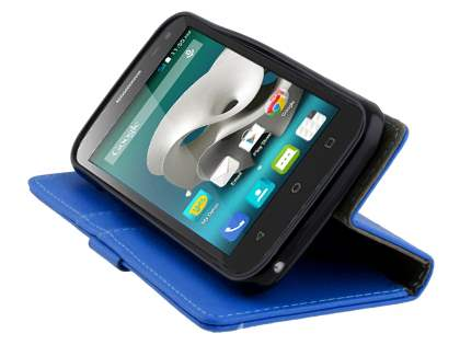 Slim Synthetic Leather Wallet Case with Stand for ZTE FIT 4G Smart - Blue