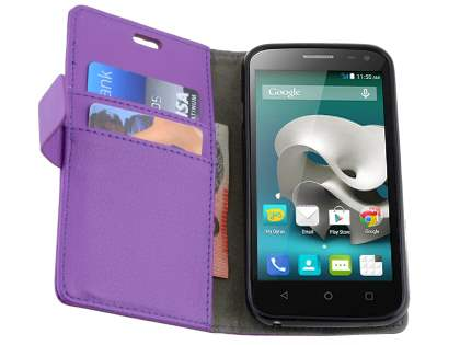 Slim Synthetic Leather Wallet Case with Stand for ZTE FIT 4G Smart - Purple