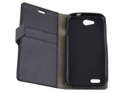 Slim Synthetic Leather Wallet Case with Stand for ZTE FIT 4G Smart - Classic Black