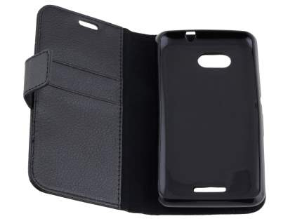 Sony Xperia E4g Slim Synthetic Leather Wallet Case with Stand - Classic Black