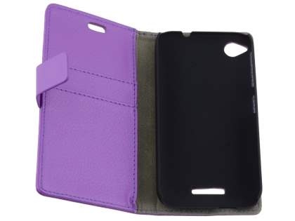 HTC Desire 320 Slim Synthetic Leather Wallet Case with Stand - Purple