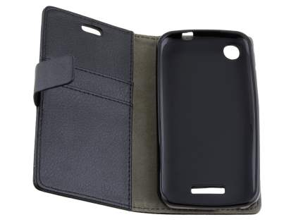 Slim Synthetic Leather Wallet Case with Stand for HTC Desire 320 - Classic Black
