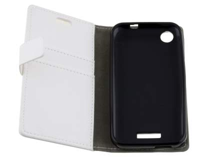 HTC Desire 320 Slim Synthetic Leather Wallet Case with Stand - Pearl White