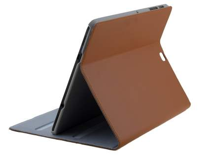Premium Slim Genuine Leather Portfolio Case with Stand for Samsung Galaxy Tab S2 9.7 - Brown