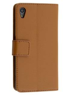 Slim Synthetic Leather Wallet Case with Stand for Sony Xperia Z5 - Brown Leather Wallet Case