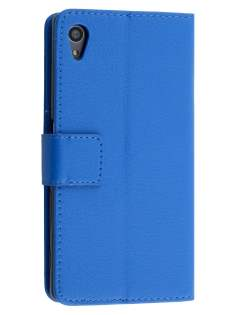 Slim Synthetic Leather Wallet Case with Stand for Sony Xperia Z5 - Blue