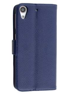 Synthetic Leather Wallet Case with Stand for HTC Desire 626/628 - Dark Blue Leather Wallet Case