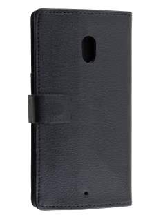 Slim Synthetic Leather Wallet Case with Stand for Motorola Moto X Play - Classic Black Leather Wallet Case