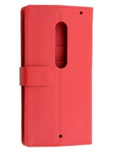 Slim Synthetic Leather Wallet Case with Stand for Motorola Moto X Style - Red Leather Wallet Case