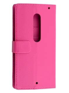 Slim Synthetic Leather Wallet Case with Stand for Motorola Moto X Style - Pink Leather Wallet Case