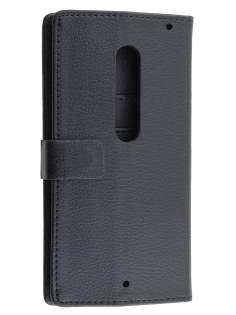 Slim Synthetic Leather Wallet Case with Stand for Motorola Moto X Style - Classic Black Leather Wallet Case