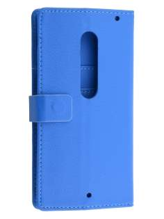 Slim Synthetic Leather Wallet Case with Stand for Motorola Moto X Style - Blue Leather Wallet Case