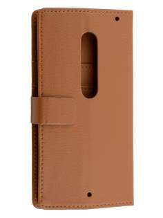 Slim Synthetic Leather Wallet Case with Stand for Motorola Moto X Style - Brown