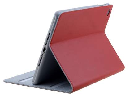 Premium Genuine Leather Slim Portfolio Case with Stand for iPad mini 4 - Red Leather Flip Case
