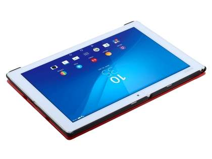 Premium Slim Synthetic Leather Flip Case with Stand for Sony Xperia Z4 Tablet - Red