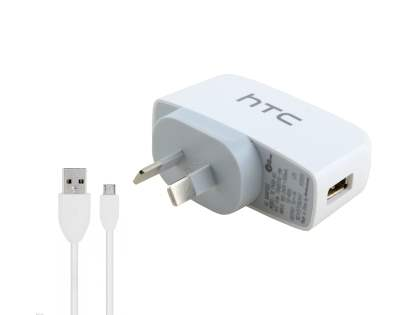 Genuine HTC TC P450 3-in-1 Sync Cable, AC & USB Charger - White AC Wall Charger