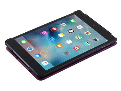 Premium Slim Synthetic Leather Flip Case with Stand for iPad mini 4 - Purple