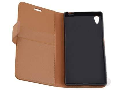 Slim Synthetic Leather Wallet Case with Stand for Sony Xperia Z5 - Brown