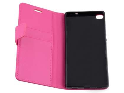 Synthetic Leather Wallet Case with Stand for Huawei P8 - Pink