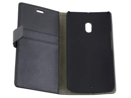 Slim Synthetic Leather Wallet Case with Stand for Motorola Moto X Play - Classic Black