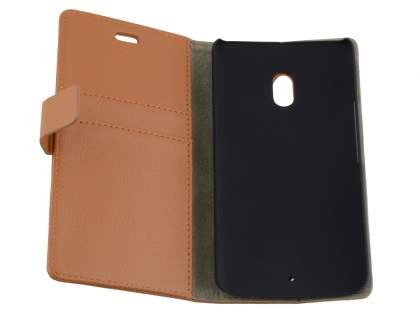 Slim Synthetic Leather Wallet Case with Stand for Motorola Moto X Play - Brown