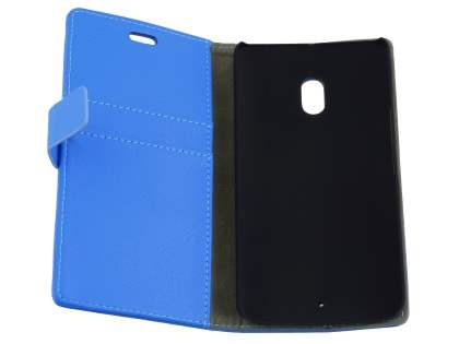 Slim Synthetic Leather Wallet Case with Stand for Motorola Moto X Play - Blue