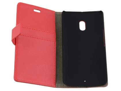 Slim Synthetic Leather Wallet Case with Stand for Motorola Moto X Play - Red