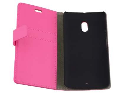 Slim Synthetic Leather Wallet Case with Stand for Motorola Moto X Play - Pink