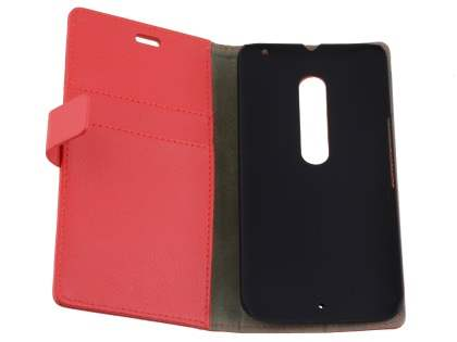Slim Synthetic Leather Wallet Case with Stand for Motorola Moto X Style - Red