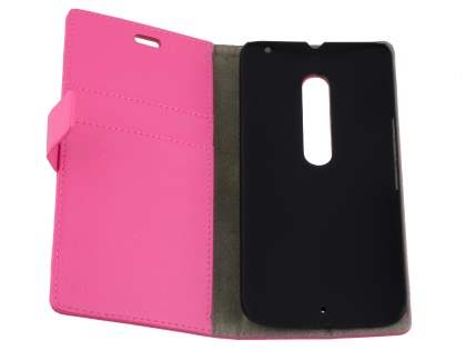 Slim Synthetic Leather Wallet Case with Stand for Motorola Moto X Style - Pink
