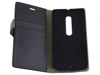 Slim Synthetic Leather Wallet Case with Stand for Motorola Moto X Style - Classic Black