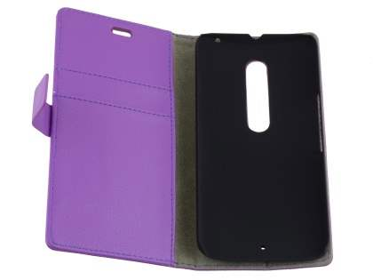 Slim Synthetic Leather Wallet Case with Stand for Motorola Moto X Style - Purple