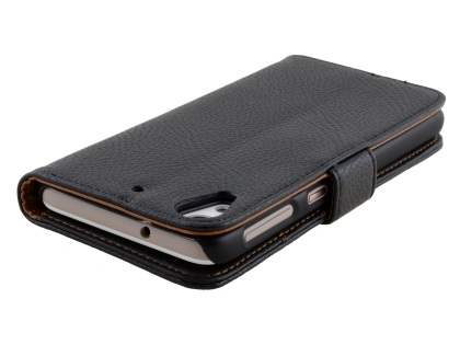Synthetic Leather Wallet Case with Stand for HTC Desire 626 - Classic Black